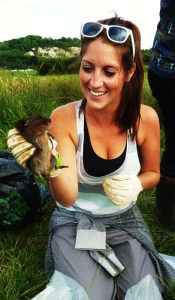 Laura Cobden, student on Acorn Ecology Training Certificate PLUS Course, holding a water vole.